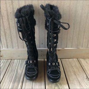 Aldo Wedge Heel Tall Black Boots Size 37